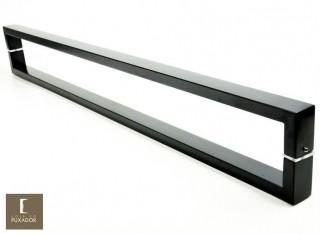 Puxador Para Portas Duplo AÇO INOX EPOXI PRETO (GRECO). Para portas Pivotante /Madeira /Vidro/Alumínio .