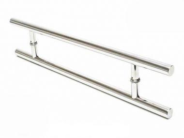 Puxador Para Portas Duplo Aço Inox Modelo Soft 1 metro  furação 80 cm