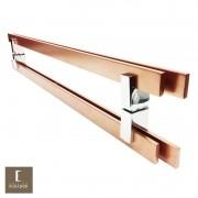 Puxador Para Portas Duplo em Aço Inox 304 Modelo Aquarius Cobre Acetinado para portas: pivotantes/madeira/vidro temperado/porta alumínio e portões