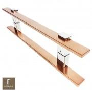 Puxador Para Portas Duplo em Aço Inox 304 Modelo Luma Cobre Acetinado para portas: pivotantes/madeira/vidro temperado/porta alumínio e portões