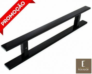 Puxador Para Portas Duplo AÇO INOX PRETO EPOXI (CLEAN)