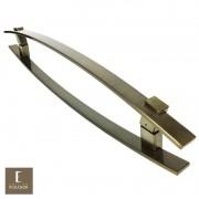 Puxador Para Portas Duplo em Aço Inox 304 Modelo Alba Antique Ouro Velho para portas: pivotantes/madeira/vidro temperado/porta alumínio e portões