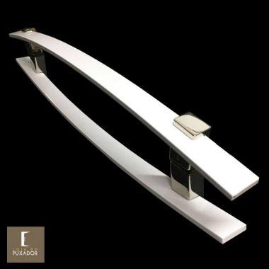 Puxador Para Portas Duplo em Aço Inox 304 Modelo Alba Branco para portas: pivotantes/madeira/vidro temperado/porta alumínio e portões