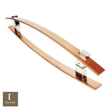 Puxador Para Portas Duplo em Aço Inox 304 Modelo Alba Cobre Acetinado para portas: pivotantes/madeira/vidro temperado/porta alumínio e portões