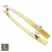 Puxador Para Portas Duplo em Aço Inox 304 Modelo Alba Dourado Metálico Acetinado para portas: pivotantes/madeira/vidro temperado/porta alumínio e portões