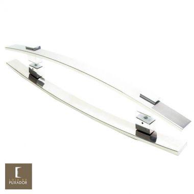 Puxador Para Portas Duplo em Aço Inox 304 Modelo Alba Polido Brilhante para portas: pivotantes/madeira/vidro temperado/porta alumínio e portões
