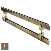Puxador Para Portas Duplo em Aço Inox 304 Modelo Aquarius Antique Ouro Velho para portas: pivotantes/madeira/vidro temperado/porta alumínio e portões
