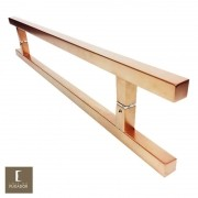 Puxador Para Portas Duplo em Aço Inox 304 Modelo Aristocrata Cobre Acetinado para portas: pivotantes/madeira/vidro temperado/porta alumínio e portões