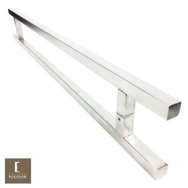 Puxador Para Portas Duplo em Aço Inox 304 Modelo Aristocrata Escovado para portas: pivotantes/madeira/vidro temperado/porta alumínio e portões