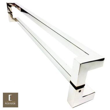 Puxador Para Portas Duplo em Aço Inox 304 Modelo Athenas Polido Brilhante