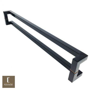 Puxador Para Portas Duplo em Aço Inox 304 Modelo Athenas Preto fosco para portas: pivotantes/madeira/vidro temperado/porta alumínio e portões