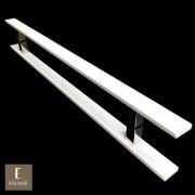 Puxador Para Portas Duplo em Aço Inox 304 Modelo Clean Branco para portas: pivotantes/madeira/vidro temperado/porta alumínio e portões