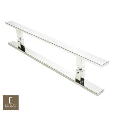 Puxador Para Portas Duplo em Aço Inox 304 Modelo Clean Polido Brilhante para portas: pivotantes/madeira/vidro temperado/porta alumínio e portões