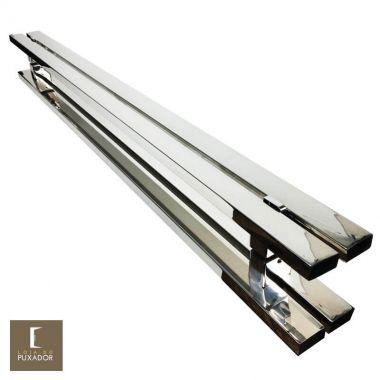 Puxador Para Portas Duplo em Aço Inox 304 Modelo Cosmo Polido Brilhante para portas: pivotantes/madeira/vidro temperado/porta alumínio e portões