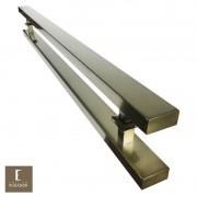 Puxador Para Portas Duplo em Aço Inox 304 Modelo Grand Clean Antique Ouro Velho para portas: pivotantes/madeira/vidro temperado/porta alumínio e portões