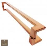 Puxador Para Portas Duplo em Aço Inox 304 Modelo Grécia Cobre Acetinado para portas: pivotantes/madeira/vidro temperado/porta alumínio e portões