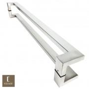 Puxador Para Portas Duplo em Aço Inox 304 Modelo Grécia Escovado para portas: pivotantes/madeira/vidro temperado/porta alumínio e portões
