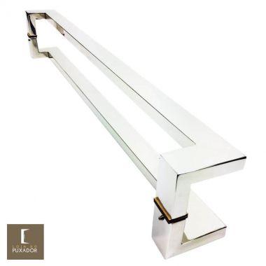 Puxador Para Portas Duplo em Aço Inox 304 Modelo Grécia Polido Brilhante