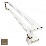 Puxador Para Portas Duplo em Aço Inox 304 Modelo Grécia Polido Brilhante para portas: pivotantes/madeira/vidro temperado/porta alumínio e portões