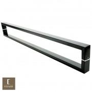 Puxador Para Portas Duplo em Aço Inox 304 Modelo Greco Preto fosco para portas: pivotantes/madeira/vidro temperado/porta alumínio e portões