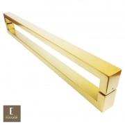 Puxador Para Portas Duplo em Aço Inox 304 Modelo Hércules Dourado Metálico Acetinado para portas: pivotantes/madeira/vidro temperado/porta alumínio e portões