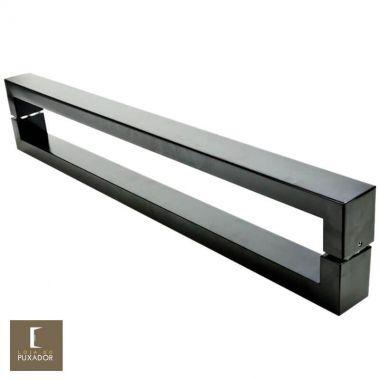 Puxador Para Portas Duplo em Aço Inox 304 Modelo Hércules Preto fosco para portas: pivotantes/madeira/vidro temperado/porta alumínio e portões