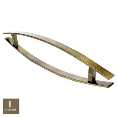 Puxador Para Portas Duplo em Aço Inox 304 Modelo Lugui Antique Ouro Velho curvo