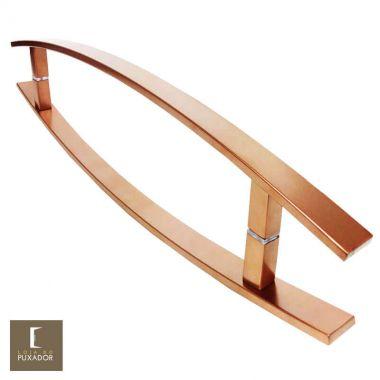 Puxador Para Portas Duplo em Aço Inox 304 Modelo Lugui Cobre Acetinado para portas: pivotantes/madeira/vidro temperado/porta alumínio e portões