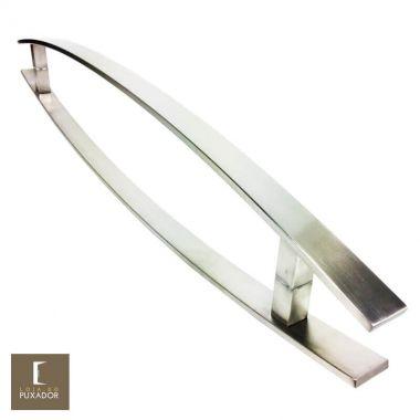 Puxador Para Portas Duplo em Aço Inox 304 Modelo Lugui Escovado curvo