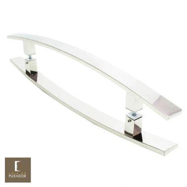 Puxador Para Portas Duplo em Aço Inox 304 Modelo Lugui Polido Brilhante para portas: pivotantes/madeira/vidro temperado/porta alumínio e portões