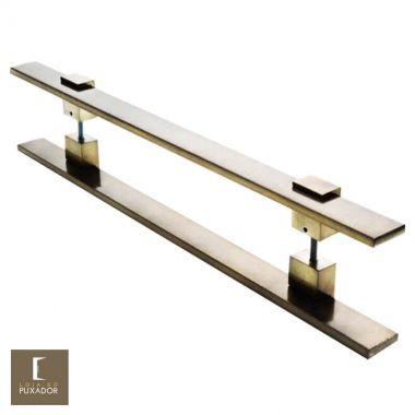 Puxador Para Portas Duplo em Aço Inox 304 Modelo Luma Antique Ouro Velho para portas: pivotantes/madeira/vidro temperado/porta alumínio e portões