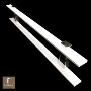 Puxador Para Portas Duplo em Aço Inox 304 Modelo Luma Branco para portas: pivotantes/madeira/vidro temperado/porta alumínio e portões
