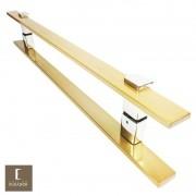 Puxador Para Portas Duplo em Aço Inox 304 Modelo Luma Dourado Metálico Acetinado para portas: pivotantes/madeira/vidro temperado/porta alumínio e portões