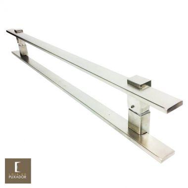 Puxador Para Portas Duplo em Aço Inox 304 Modelo Luma Escovado para portas: pivotantes/madeira/vidro temperado/porta alumínio e portões