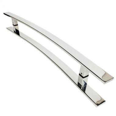 Puxador Para Portas Duplo em Aço Inox 304 Modelo Novitá Polido Brilhante para portas: pivotantes/madeira/vidro temperado/porta alumínio e portões