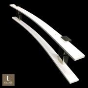 Puxador Para Portas Duplo em Aço Inox 304 Modelo Paola Branco para portas: pivotantes/madeira/vidro temperado/porta alumínio e portões