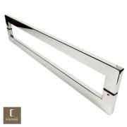 Puxador Para Portas Duplo em Aço Inox 304 Modelo Roma Polido Brilhante para portas: pivotantes/madeira/vidro temperado/porta alumínio e portões