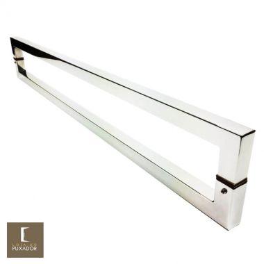 Puxador Para Portas Duplo em Aço Inox 304 Modelo Slin Polido Brilhante