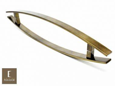Puxador Para Portas Duplo INOX Antique Ouro Velho (LUGUI) Tam. 80 CM. Para portas Pivotante /Madeira /Vidro/Alumínio.