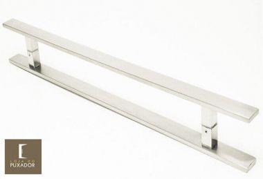 Puxador Para Portas Duplo INOX ESCOVADO (CLEAN) Tam. 40 CM. Para portas Pivotante /Madeira /Vidro/Alumínio.