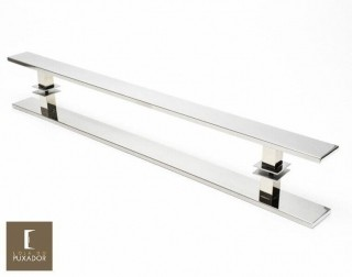 Puxador Para Portas Duplo INOX POLIDO (GRAND CLEAN) Tam. 80 CM. Para portas Pivotante /Madeira /Vidro/Alumínio.
