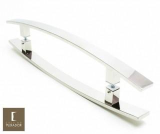 Puxador Para Portas Duplo INOX POLIDO (LUGUI) Tam. 60 CM. Para portas Pivotante /Madeira /Vidro/Alumínio.