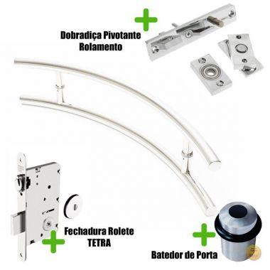 Puxador Porta AÇO INOX POLIDO (BELÍSSIMA) + Batedor porta Polido + Fechadura Rolete Tetra inox polido +Dobradiça pivotante rolamento 100kg