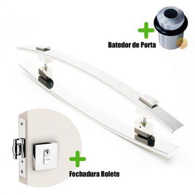 Puxador Porta (ALBA) Aço Inox Polido + fechadura rolete inox polido +Batedor de porta polido