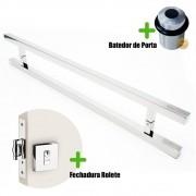 Puxador Porta (ARISTOCRATA) Aço Inox Polido + fechadura rolete inox polido +Batedor de porta polido