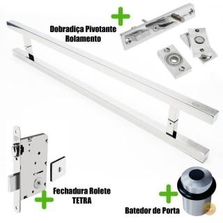 Puxador Porta (ARISTOCRATA) Aço Inox Polido + fechadura rolete Tetra  inox polido +Batedor de porta polido +Dobradiça pivotante rolamento 100kg