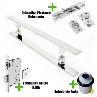 Puxador Porta (CLEAN) Aço Inox Polido + fechadura rolete Tetra  inox polido +Batedor de porta polido +Dobradiça pivotante rolamento 100kg
