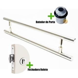 Puxador Porta (GRAND SOFT) Aço Inox Polido + fechadura rolete inox polido +Batedor de porta polido