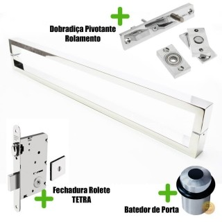 Puxador Porta (GRECO) Aço Inox Polido + fechadura rolete inox polido +Batedor de porta polido +Dobradiça pivotante rolamento 100kg