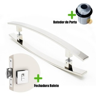 Puxador Porta (LUGUI) Aço Inox Polido + fechadura rolete inox polido + Batedor de porta polido